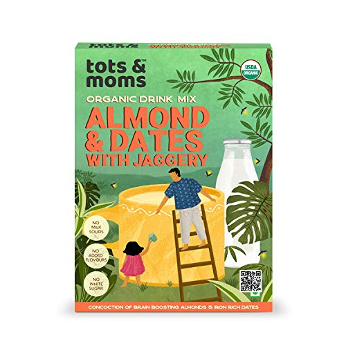 Tots & Moms Foods Almond & Dates Health Drink Mix with Jaggery for Kids & Adults   Good percentage of dry fruits   No junk, no white sugar, no milk powder added - 200g