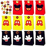 24 Packs Mickey Mouse Gift Bags with 36 Pcs Stickers Mickey Mouse Party Favors Cookies Candy Gift Bags Party Supplies for Kids Boys Girls Themed Party Birthday Party Decorations