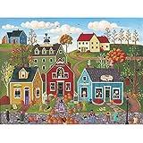 Spilsbury - 500 Piece Premium Jigsaw Puzzle for Adults by Artist Kim Leo - Pumpkins On Pebble Lane Premium - Spilsbury Puzzle Company Premium Collection