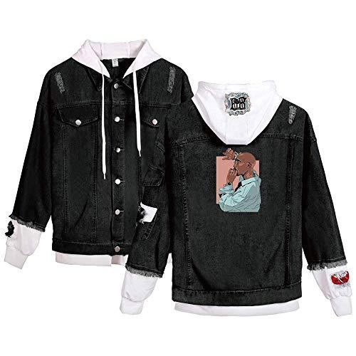 CCEE Hip Hop Rap 2Pac Hoodie Herren- Und Damen-Sweatshirt Tupac Denim-Kapuzenpullover Casual Loose Street Jacket Sportswear