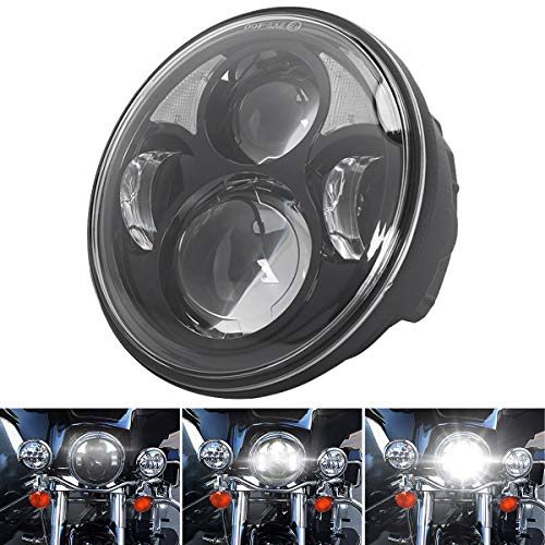 HOZAN 5-3//4 Motorcycle Headlight Assembly 5.75inch LED Amber DRL Front Headlamp with Black Housing Bucket Mount Clamps Compatible with Kawasaki Honda Shadow Harley Suzuki Metric Cruisers Choppers