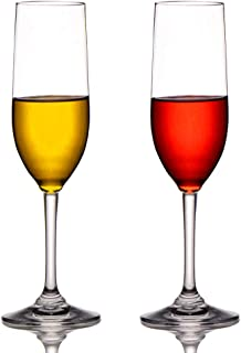 MICHLEY Unbreakable Champagne Flutes Glasses, 100% Tritan Plastic Wine Glasses, BPA-free, Dishwasher-safe 6 oz, Set of 2