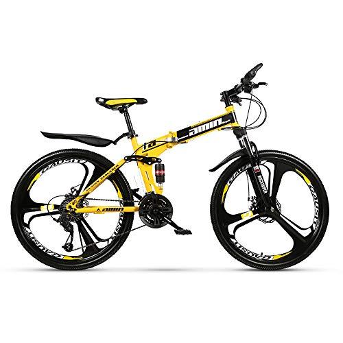 HDM Mountain Bike Pieghevole per Uomini e Donne Adulti, Bicicletta Sportiva da Montagna, MTB con 21/24/27-Stage Shift, 26 Pollici 3 Taglierina (B,24 Marce)