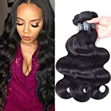 Amella Hair Brazilian Virgin Body Wave Weft 3 Bundles 300g(10 12 14 inch,Natural Black)8A 100% Unprocessed Brazilian Body Wave Human Hair Weave for Black Women