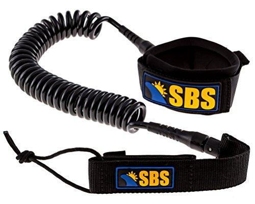 SBS 10' Coiled SUP Leash - GUARANTEED FOR LIFE - Ultra Premium 10 ft Paddleboard Leash