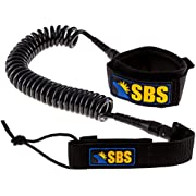 Santa Barbara Surfing SBS 10' Coiled SUP Leash - Guaranteed for Life - Premium Design for Flat & Open Water Stand Up Paddle Board