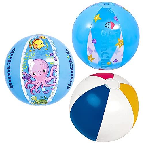 ZoneYan Strandball, Wasserball, Beach Ballon, Aufblasbare Wasserball, Wasserball für Sommer, Strand Pool Bälle Spielzeug für Erwachsene und Kinder, 3 Gemischte Stile Zufällig-40cm