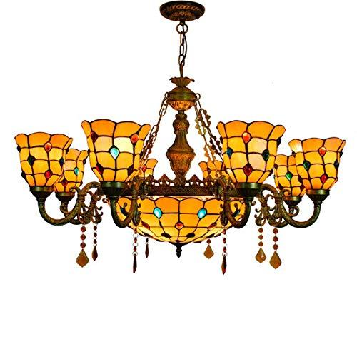 GDLight 8-lumière Grand Lustre Tiffany Style Vintage vitrail inversé Plafond lumière Salon Villa éclairage luminaire