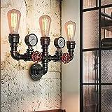 CCLLA Lámpara de Pared Retro Lámpara de Pared Industrial Vintage Luces Retro Tubería de Agua de Metal Candelabro Antiguo Candelabro de Hierro Forjado Lámpara de Tubo de Hierro Industrial Lámpara d