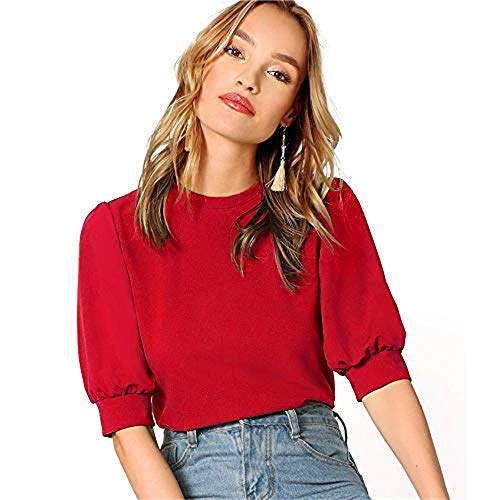 SheIn Women's Puff Sleeve Casual Solid Top Pullover Keyhole Back Blouse Red X-Large