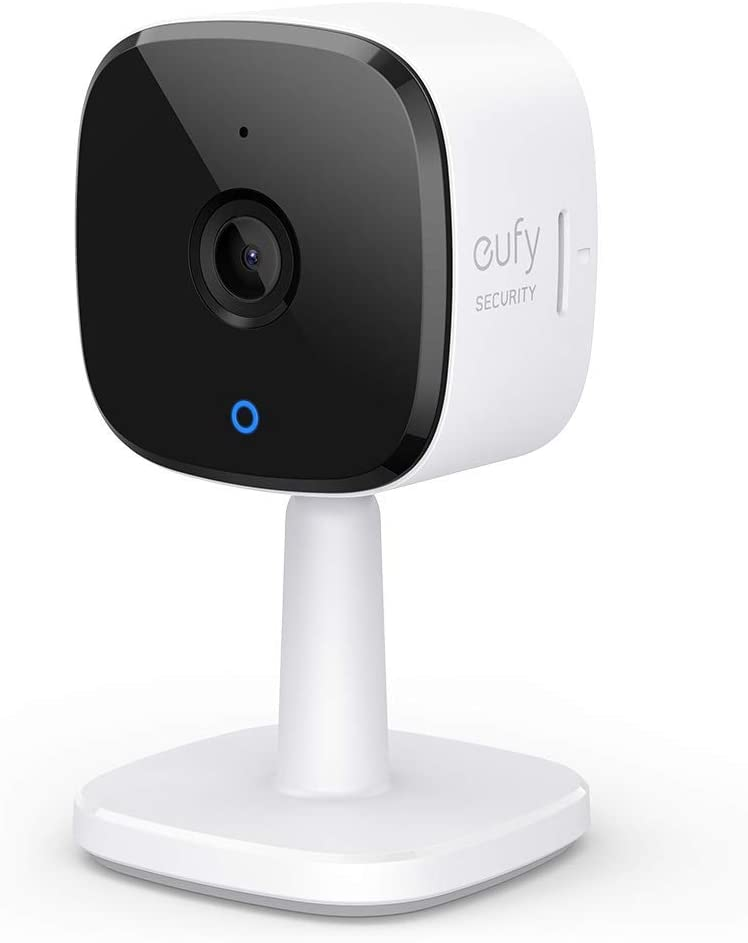 eufy Security 1080P Indoor Cam,Plug-in Security Indoor Camera with Wi-Fi,Human and Pet AI,Works with Voice Assistants,Night Vision,Two-Way Audio,HomeBase Not Required.(Renewed),Black+White