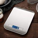 QAZW Escala Alimentos Portátil, con Pantalla LCD,Digitales Multifuncional Acero Inoxidable Cocinar Báscula ,Antideslizante, para Casa Lavable,Silver-18x14cm