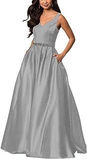 Yinyyinhs Women's V Neck Prom Dresses A Line Long Beaded...