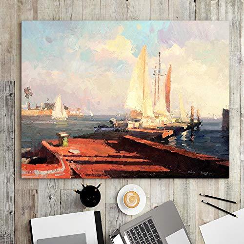 wZUN Decoración para el hogar impresión Lienzo Arte de la Pared Imagen Cartel Pintura Horizontal Pintura al óleo Barco de Pesca Sala de Estar 50x70 Sin Marco