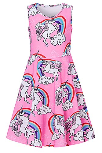 Little Kids Girl Unicorn Dress Cute Pegasus Overalls Sundress Midi Long Novelty Colorful Rainbow Cloud 3D Print Red Pink Cool Empire Waist Outfits for Toddler Baby Girls 4-5 Year Old Birthday Presents