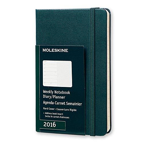 Moleskine 2016 Weekly Notebook, 12M, Pocket, Tide Green, Hard Cover (3.5 x 5.5)
