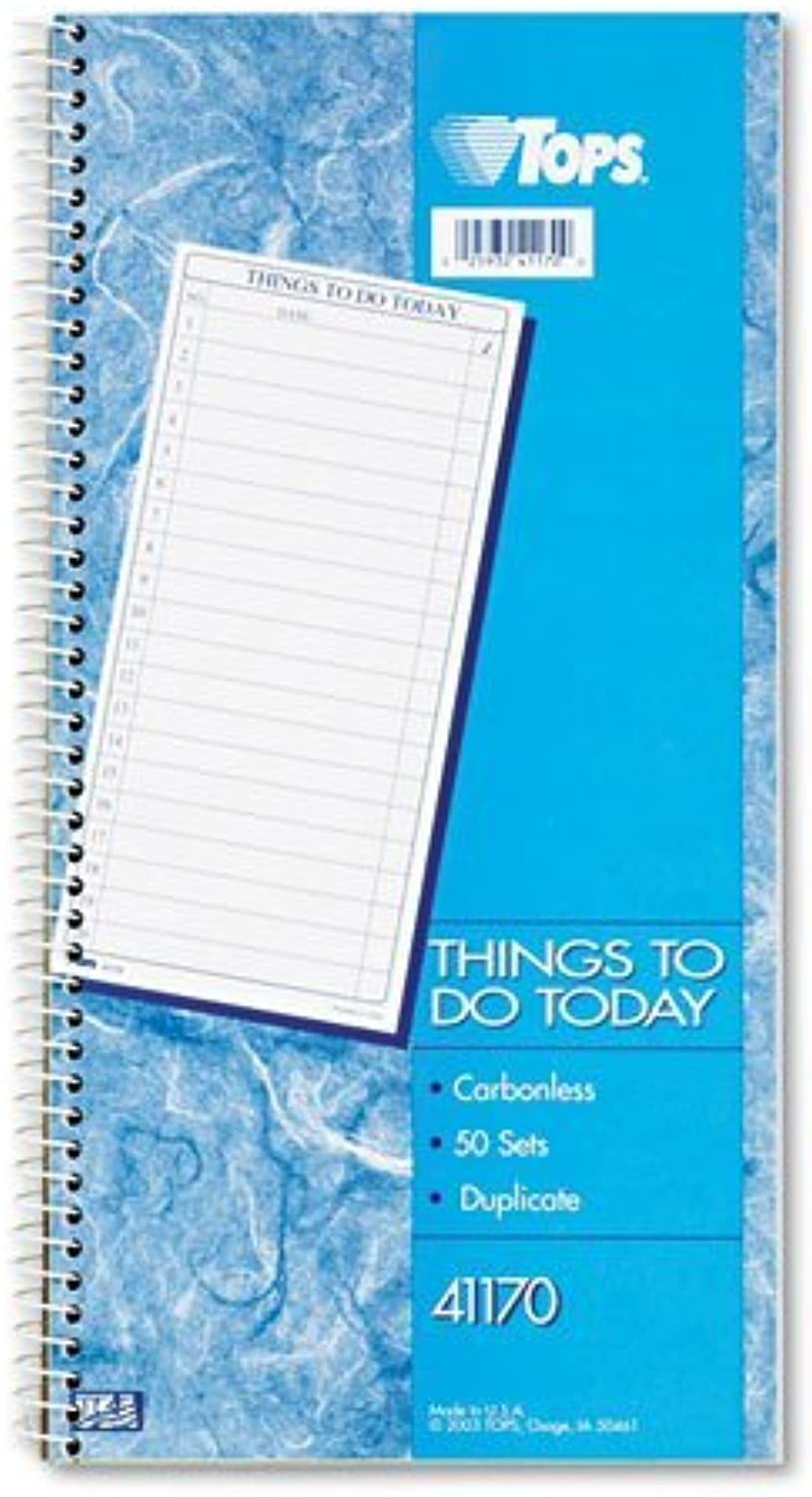 TOPS Products - TOPS -   Things To Do   Spiral Daily Agenda Book, 5-1 2 x 11, 2-Part Carbonless, 50 Pad - Sold As 1 PD - Check-off boxes to indicate task has been completed. - Remove original, keep follow-up copy in book as permanent record. - Four ruled
