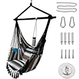 Project One Hanging Rope Hammock Chair, Hanging Rope Swing Seat with 2 Pillows,...