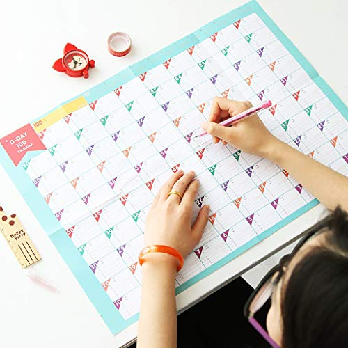 XinYuan 100 Tage Countdown-Kalender Lernplan Periodic Planner Tabelle Geschenk for Kinder Studienplanung Learning Supplies