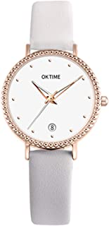 Festnight Fashion Simple Women Quartz Watch Student Calendar Alloy Case PU Leather Band Wrist Watch