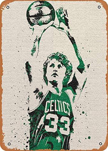 BUDELIAO Metal Sign - Larry Bird Boston Celtics - Metal Poster Vintage Tin Signs Wall Poster, 8x12inch(20cmx30cm)