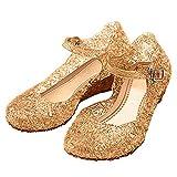 Katara-Zapatos De Princesa Elsa Frozen Con Cuña Disfraz Niña, color dorado, EU 29 (Tamaño del fabricante: 31) (ES10)