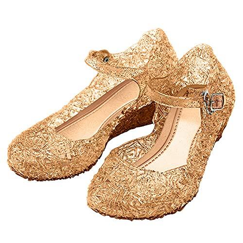 Katara-Zapatos De Princesa Elsa Frozen Con Cua Disfraz Nia, color dorado, EU 29 (Tamao del fabricante: 31) (ES10)