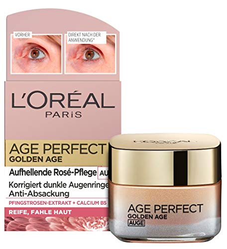 L\'Oréal Paris Augenpflege, Age Perfect Golden Age, Anti-Aging Augencreme, Aufhellung und Anti-Absackung, Für reife und fahle Haut, Mit Pfingstrosen-Extrakt und Calcium B5, 15 ml