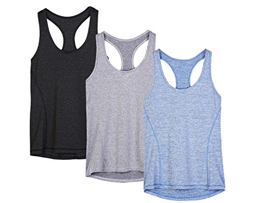 icyzone Workout Tank Tops for Women - Racerback Athletic Yoga Tops, Running Exercise Gym Shirts(Pack of 3)(XS, Black/Granite/Blue)