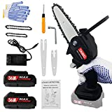 Mini Chainsaw Cordless 36V 2pcs Batteries,4 Inch and 6inch handheld Electric Power chainsaw, One-Hand Operated Portable Chain Saw for Wood Cutting, Farming, Garden, and Courtyard Tree Trimming-Black