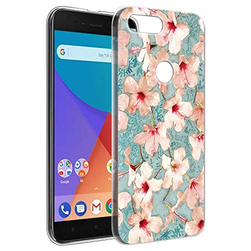 Pnakqil Xiaomi Mi A1 Cover Trasparente, Premium Custodia Silicone con Disegni Leggero Ultra Sottile TPU Morbido Antiurto 3D Pattern Bumper Case per Xiaomi Mi A1, Fiori