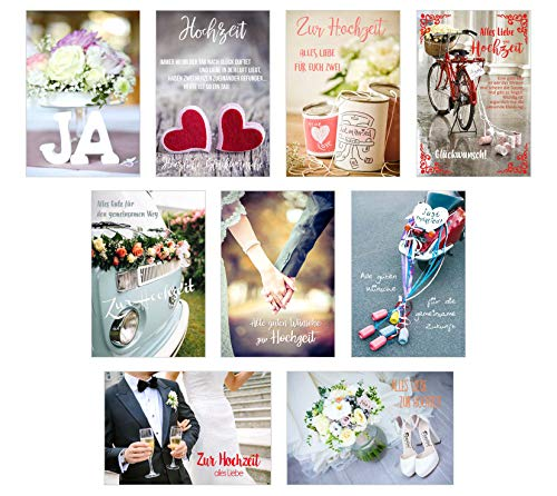 Edition Seidel Set 9 hochwertige Designer Premium Hochzeitskarten mit Briefumschlägen. Glückwunschkarte zur Hochzeit. Geschenk Geld Geldgeschenk (Doppelkarten/Klappkarten mit Briefumschlag)