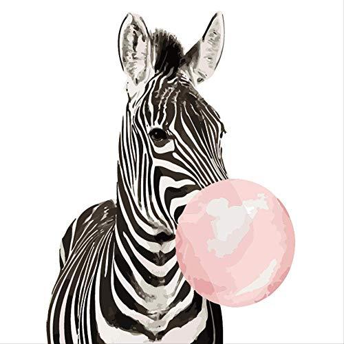 DIYdigitaal olieverfschilderij,zebra bellen blazen,decoratief schilderen, 40 * 50cmframeloos