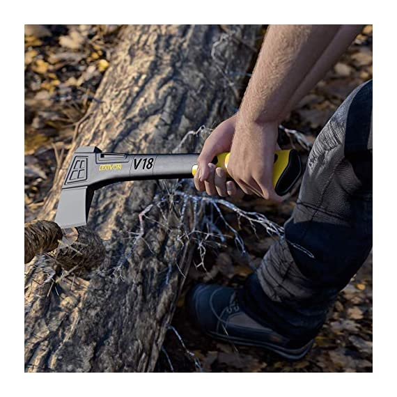 LEXIVON V18 Chopping Axe, 18-Inch Lightweight Fiber-glass Composite Handle & Ergonomic TPR Grip | Protective Carrying… 6 INNOVATIVE DESIGN - Fully encased over-molded blade. Hi-Tech fiberglass composite injected handle, featuring reinforced back spine & non-slip TPR grip. DURABLE - Drop-forged & heat-treated Grade A High-Carbon steel, meticulously hardened cutting edges provides a deeper and cleaner contact. CHOPPING - Aggressive cutting angles design for better and efficient contact | Chops small to medium-sized logs. Ideal for camping and many other outdoor activities.