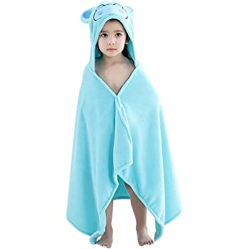 COOKY.D Baby Bath Towels with Hood Large Size Animal Face Bathrobe for Boy and Girls 115x70cm Perfect 0-7 Years