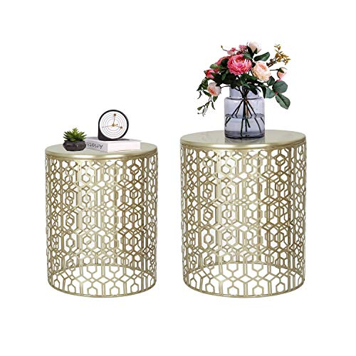 Adeco Decorative Nesting Round Side End Accent Coffee Table, Side Table. Nightstand, Set of 2