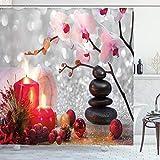 ABAKUHAUS Spa Duschvorhang, Winter-Orchideen-Stein, Personenspezifisch Druck inkl.12 Haken Farbfest Dekorative mit Klaren Farben, 175 x 180 cm, Rot-rosa schwarz-weiß