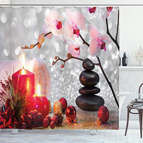 """Ambesonne Spa Shower Curtain, Winter Christmas Themed with Pink Orchid Stone and Red Candles Image, Cloth Fabric Bathroom Decor Set with Hooks, 70"""" Long, White Black"""