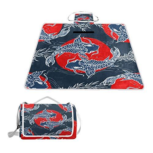 GEEVOSUN Manta de Picnic Impermeable,Patrón Sin Fisuras Carpas Dibujado A Mano Japonés,Alfombra Plegable para Camping Parqu,145 * 150cm