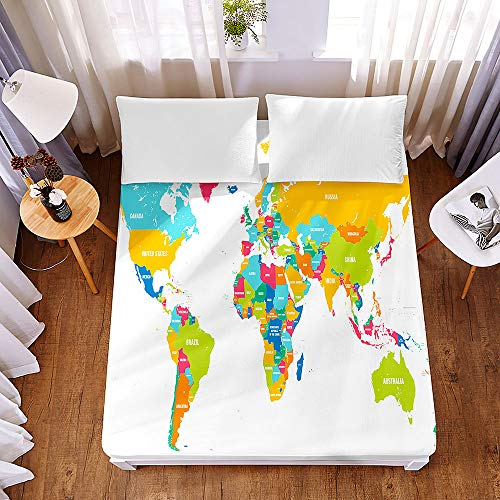 Chickwin Fitted Sheets World Map Printed Bedding Sheets with Deep Pocket 30cm for Double King Single Bed- Premium Microfibre Shrinkage Fade Resistant Easy Care (Colorful,160x200x30cm)