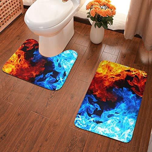 John J Littlejohn Non Slip Yingyang Fire Bathroom Antiskid Pad Bathmat Waterproof Bath Carpet Floor Rug 2 Pieces Pads Bath Mat + Contour