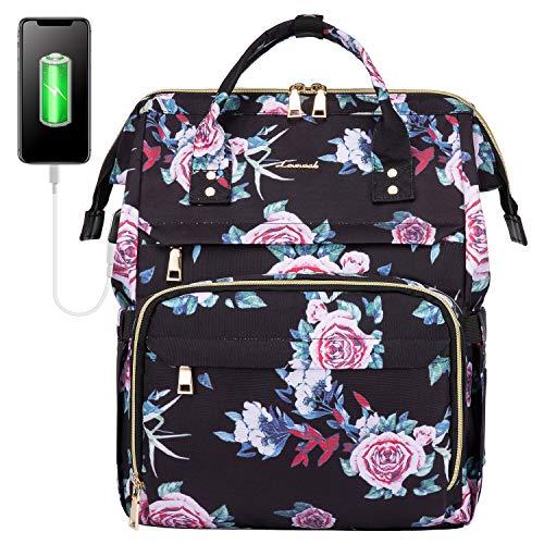 LOVEVOOK Laptop Rucksack Damen 15,6 Zoll, wasserdichte Schulrucksack Mädchen Rosen Blumen, Laptoprucksack Daypack Teenager Studenten mit USB Ladeanschluss für Schule Uni