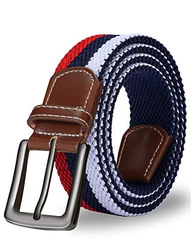ITIEZY Elastischer Stoffgürtel Stretchgürtel Geflochtener Stretchen Gürtel für Damen und Herren, Gr.-Länge: 110cm (43.30 Zoll), Rot Weiß Blau 1