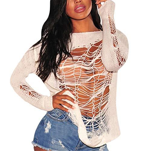 FRAUIT Maglieria Donna Sexy Maglione Ragazza alla Moda Maglioni Larghi Tumblr per Leggings Sweatshirt Maniche Lunghe Maglia Manica Lunga Pullover Oversize Maglietta Magliette Camicia Camicie