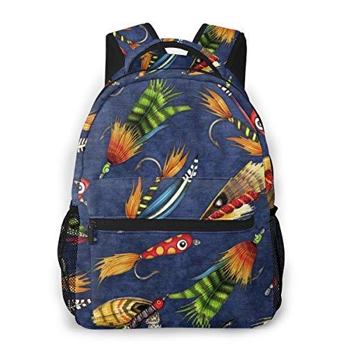Laptop Rucksack Schulrucksack Fliegenfischen lockt, 14 Zoll Reise Daypack Wasserdicht für Arbeit Business Schule Männer Frauen