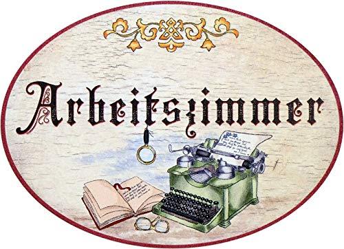Kaltner Präsente Geschenkidee - Holz Geschenkartikel Deko Türschild im Antik Design Dekoartikel Motiv Arbeitszimmer (Ø 18 cm)