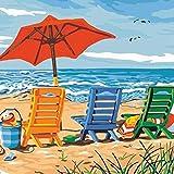 DIY 数字油絵 キャンバスの油絵 大人の子供のためのギフト 初心者 数字キットでペイント ホームデコレーション - シーサイドラウンジチェア 40* 50 cm(フレームレス)
