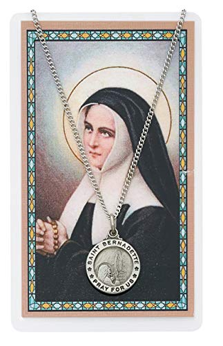 Saint Bernadette 3/4-inch Pewter Medal Pendant Necklace with Holy...
