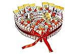 REGALO DULCE Tarta de chocolate kinder para regalar, cesta kinder regalo con 85 chocolatinas kinder, caja kinder bueno regalo en forma de corazón, 33x30 cm