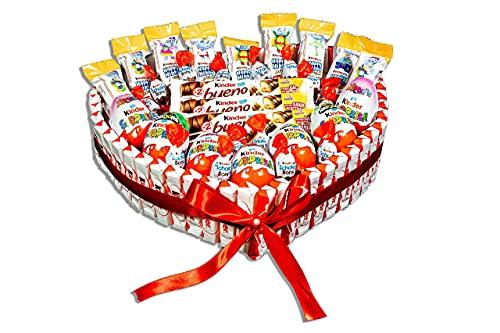 REGALO DULCE Torta al cioccolato Kinder da regalare, cesto regalo kinder con 85 cioccolatini kinder, scatola regalo kinder bueno a forma di cuore, 33x30 cm